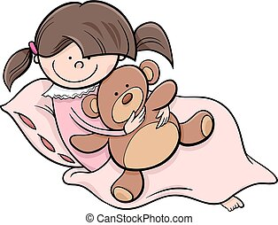 girl with teddy cartoon illustration