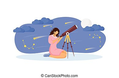 Girl with telescope flat concept vector illustration. Woman search for constellation 2D cartoon character for web design. Look at stars and moon with tool. Night sky observation creative idea