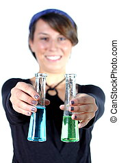 girl with test tubes