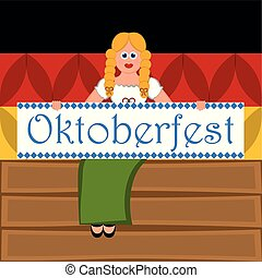 Girl with text. Flag of Germany. Oktoberfest