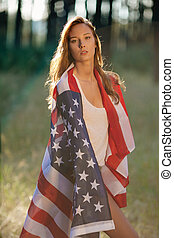 Girl with the American flag.