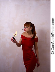 Girl with the bomb and cigarettes