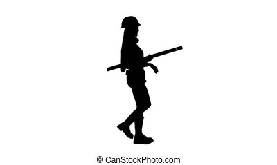 Girl with the building level in hand walking. Silhouette. White background . Side view