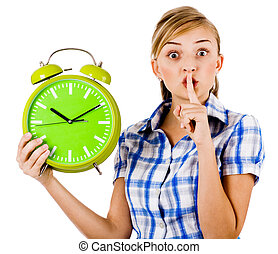 Girl with the clock asking us to maintain silence on a white background