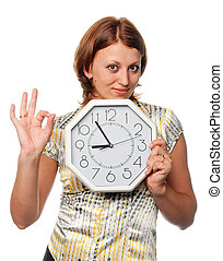 "Girl with the clock shows gesture ""?\"""