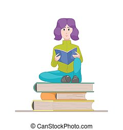 Girl with the textbook sitting on a pile of books. Flat character isolated on white background. Vector, illustration EPS10.