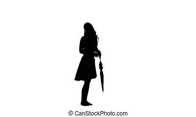 Girl with the umbrella turns around. White background. Silhouette