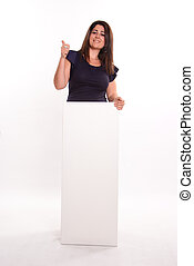 Girl with thumb up holding message board
