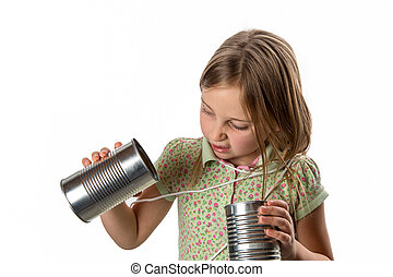 Girl with Tin Can / String Phone - Expressing Skepticism -...