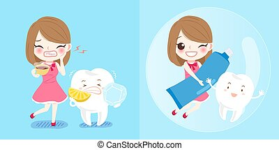 girl with tooth
