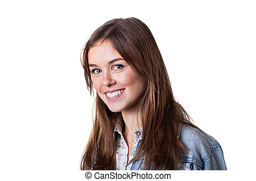 Girl with toothy smile - Beautiful blonde girl with toothy...