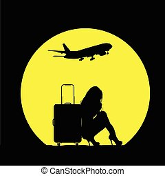 girl with travel bag and airplane illustration