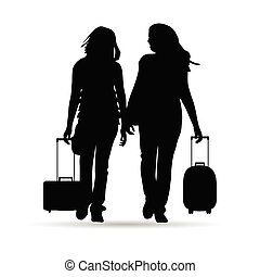 girl with traveling bag silhouette