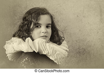 Sweet victorian girl posing in the old style with a ruff collar