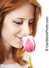Girl with tulip.