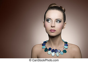 girl with turquoise make-up