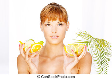 girl with two bowl full of fruit