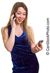 girl with two cellular phones