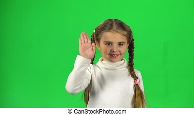 Girl with two pigtails is waving hello and inviting to come...
