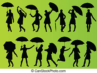 Girl with umbrella and raincoat in detailed editable...
