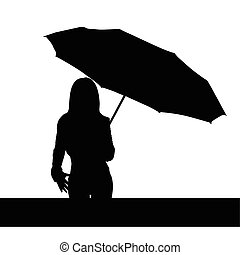 girl with umbrella black vector illutration - girl with...