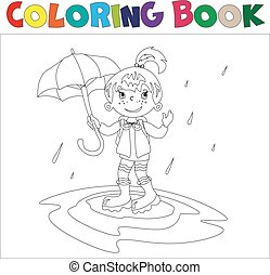 Girl with umbrella coloring book
