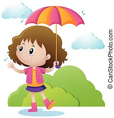 Girl with umbrella in the park