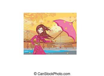 girl with umbrella on a rainy autumn day