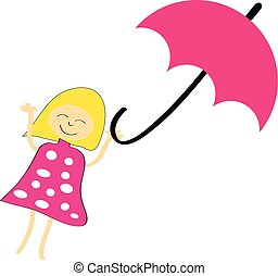 Girl with umbrella on white background. Vector illustration.
