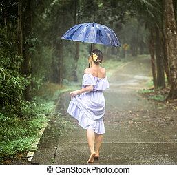 girl with umbrella under the rain