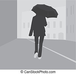 Girl with umbrella - Silhouette girl with umbrella in city