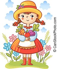 Girl with vegetables in the hands.