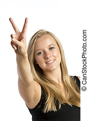 Girl with victory sign