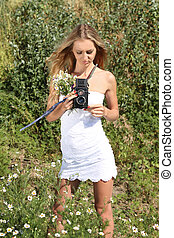 Girl with vintage camera - Beautiful girl in white dress ...