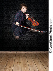 girl with violin jumping