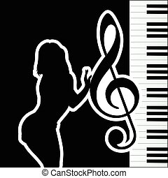 girl with violin key silhouette illustration