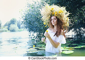 girl with water lily