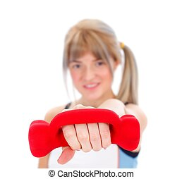 Girl with weight doing exercises