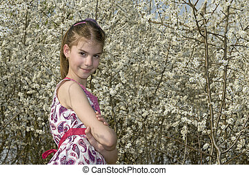 Girl with white flowers look brave
