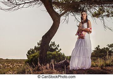 girl with white long dress