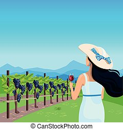 girl with wine in the vineyard