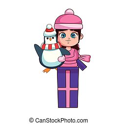 Girl with winter clothes and penguin inside gift box