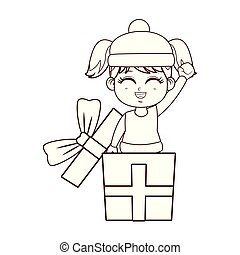 Girl with winter clothes inside gift box brown lines