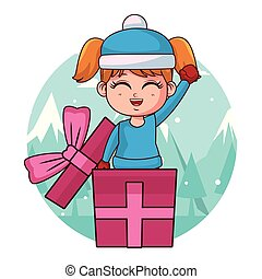 Girl with winter clothes inside gift box