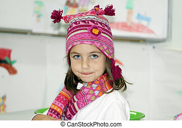 girl with winter hat and scarf