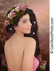 Girl with with wreath of lilac