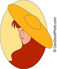 Girl with yellow hat, illustration, vector on white background.