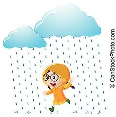 Girl with yellow raincoat running in the rain