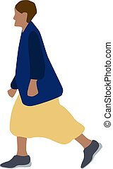 Girl with yellow skirt, illustration, vector on white background.