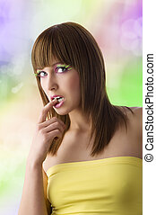 girl with yellow top